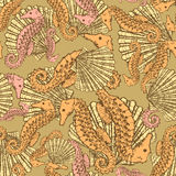 Sketch seahorse and shell in vintage style Royalty Free Stock Photo
