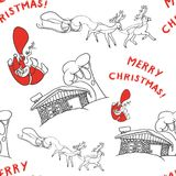Sketch seamless background of Santa Claus with gifts from a sleigh with reindeer jumps into the chimney. Vector black. And white with red elements design gift Royalty Free Stock Photos