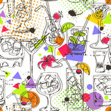 Sketch seamless pattern of cocktails Stock Photography