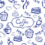 Sketch seamless pattern with coffee and sweets. Vector hand-draw Stock Photo
