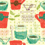 Sketch seamless pattern with coffee and tea cups. Vector illustration Stock Photos