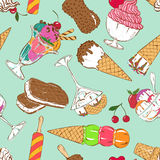 Sketch seamless pattern of colorful ice cream Stock Image