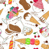 Sketch seamless pattern of colorful ice cream Stock Photography