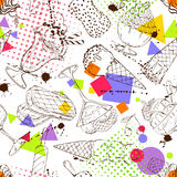 Sketch seamless pattern of ice cream Stock Photography
