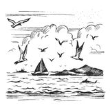 Sketch seascape with yachts and seagulls Royalty Free Stock Image