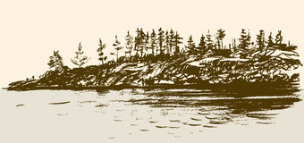 Sketch of seashore Royalty Free Stock Images