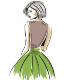 Sketch of sensual woman looking from back Stock Photography