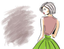 Sketch of sensual woman looking from back template Stock Photo