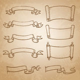 Sketch set of banners. Vintage ribbons and scrolls on old paper background. Hand drawn vector illustration Royalty Free Stock Photo