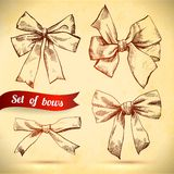 Sketch set of bows. Vector illustration. Bows and ribbons on paper texture Royalty Free Stock Photo