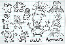 Sketch set of cartoon funny monsters Royalty Free Stock Photography