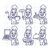 Sketch Set Cat Character Chef Holding Various Objects Royalty Free Stock Images