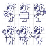 Sketch Set Character Dog Holding Ball Paper Flower Gift Megaphon Stock Photography