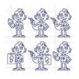 Sketch Set Character Tattoo Artist Holding Sketch Paint Machine. Vector Illustration. Mascot Character Stock Images