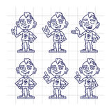 Sketch Set Character Tattoo Artist Shows and Indicates. Vector Illustration. Mascot Character Royalty Free Stock Photos