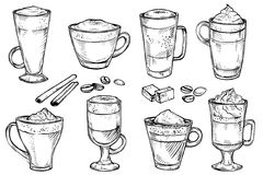 Sketch set of Coffee kind menu drinking cup. Vector hand drawing illustration  on white background. Espresso, cappuccino, glace, latte, irish, mocha, coffee Stock Photos