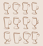 Sketch set coffee and latte cups design elements Royalty Free Stock Image