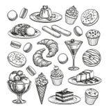 Sketch set of dessert. Stock Photography