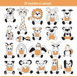 Sketch set. Doodle illustration. Tiger, cat and other animals. Sketch animal set. Doodle illustration collection. Tiger, giraffe, lion and pig, sheep, dog and Royalty Free Stock Photos