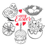 Sketch set of Easter symbols Royalty Free Stock Photo