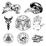Sketch Set Of Esoteric Symbols And Occult Attributes Royalty Free Stock Photos