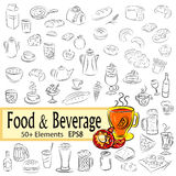Sketch Set of Foods and Drinks Royalty Free Stock Images