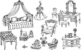 Sketch, set of furniture and toys for the girls room Stock Photos