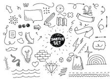 Sketch set. Hand drawn elements. Sketch set. Hand drawn funny vector elements stock illustration