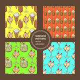 Sketch set with ice cream patterns Stock Photos