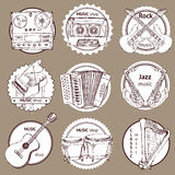 Sketch set of logo with musical instruments Royalty Free Stock Image