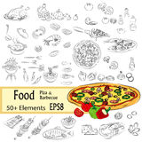 Sketch Set Pizza and Fastfood Royalty Free Stock Image