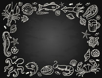Sketch the set of seafood Stock Images