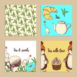 Sketch set of tea posters Royalty Free Stock Photos