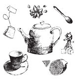 Sketch  set teapot, lemon,cup, tea, sugar, candy and star anise.hand drawn illustration of tea set. Sketch. Stock Images