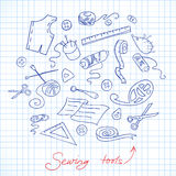Sketch of sewing tools Royalty Free Stock Image