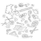 Sketch of sewing tools Royalty Free Stock Photo