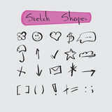 Sketch Shapes Collection Hand Drawn Set Stock Photos