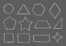 Sketch shapes. Figures and shapes drawn with chalk on blackboard Royalty Free Stock Photo