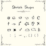 Sketch Shapes Symbols Signs Set Collection Royalty Free Stock Photos