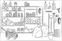 Sketch of shelves Royalty Free Stock Photos