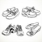 Sketch of shoes for men and women moccasins, sneakers Stock Photography