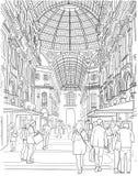 Sketch of the shopping gallery. Viktora Emmanuila in Milan. Italy royalty free illustration