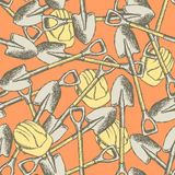 Sketch shovel and helmet,   seamless pattern Royalty Free Stock Photography