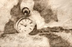 Sketch of the Relentless and Unstoppable Passage of Time stock illustration