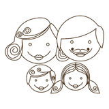 sketch silhouette cartoon family faces Stock Photography
