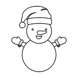 Sketch silhouette cartoon snowman christmas design. Illustration Royalty Free Stock Photos