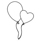 Sketch silhouette couple balloons Flying romantic celebration Royalty Free Stock Image