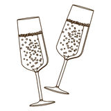 Sketch silhouette couple toast champagne glasses. Illustration Stock Image