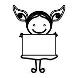 sketch silhouette front view girl with dress and placard Royalty Free Stock Images