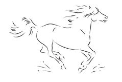 Sketch of silhouette of galloping horse Royalty Free Stock Photo